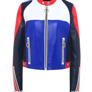 Tommy X Gigi Hadid Color Block Speed Leather Jacket