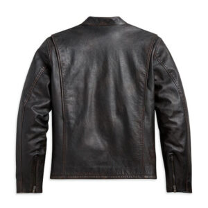 Black Harley Davidson Sleeve Stripe Leather Jacket
