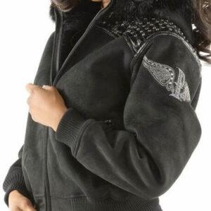 Black Pelle Pelle Airborne Shearling Hoodie Jacket