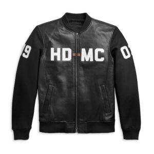 Harley Davidson HD MC Mixed Media Bomber Jacket