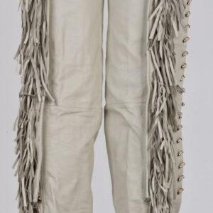 White Bone Leather Fringe Western Chaps