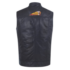 Black Indian Motorcycle Casual Leather Vest
