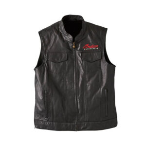 Black Indian Motorcycle Casual Zip-Up Leather Vest