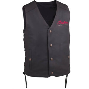 Black Indian Motorcycle Classic Leather Vest