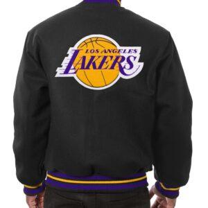 Black Los Angeles Lakers Embroidered Wool Jacket