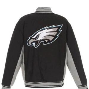 Black Philadelphia Eagles Varsity Jacket