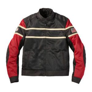 Black Red Indian Motorcycle Mesh Jacket
