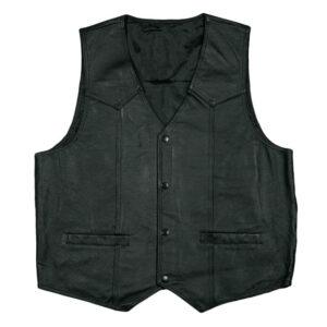 Black US Army Star Logo Leather Vest
