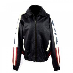Black USA Flag Bomber Leather Jacket