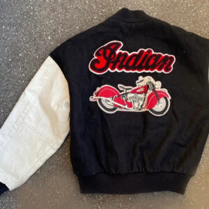 Black White Indian Motorcycle Racing Varsity Jacket