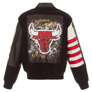 Chicago Bulls Hand Painted Wool and Leather Jacket