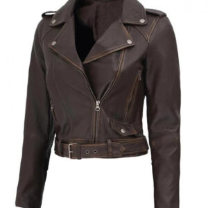 Distressed Brown Nellie Leather Biker Jacket