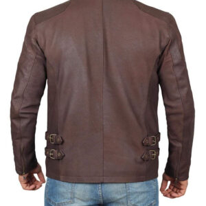 Distressed Brown Retro Cafe Racer Leather Jacket