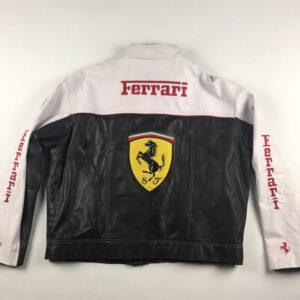 Ferrari Motorcycle Black and White Leather Jacket