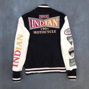 Indian Motorcycle Racing Black Varsity Jacket