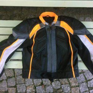 KTM Motorcycle Racing Black And Orange Leather Jacket