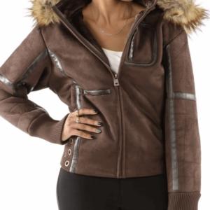 Pelle Pelle Wing Brown Shearling Leather Jacket