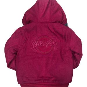 Pink Pelle Pelle Hooded Wool Bomber Jacket