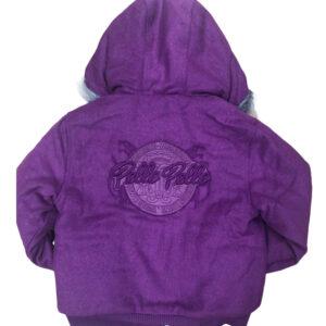 Purple Pelle Pelle Hooded Wool Bomber Jacket
