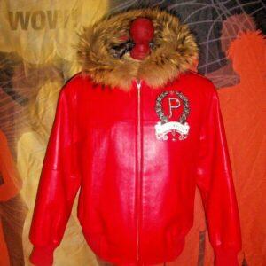 Red Pelle Pelle Fur Trim Bomber Leather Jacket