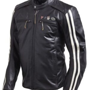 Triumph Motorcycle Racing Black Leather Jacket