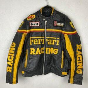 Vintage Ferrari Motorcycle Racing Leather Jacket