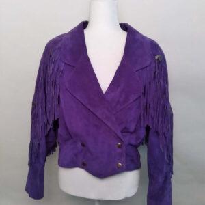 Vintage Purple Fringe Leather Jacket