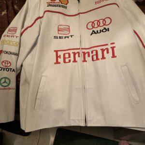 White Ferrari Motorcycle Racing Leather Jacket