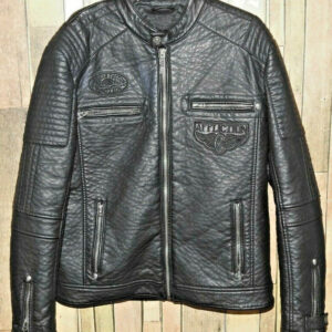 Black Affliction Indian Skull Motorcycle Leather Jacket