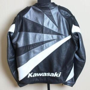 Black And Grey Kawasaki Ninja Motorcycle Leather Jacket
