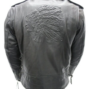 Black Indian Leather Classic Biker Jacket