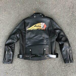 Black Indian Motorcycle Biker Leather Jacket