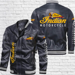 Black Indian Motorcycle Bomber Leather Jacket