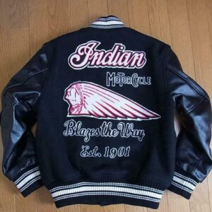Black Indian Motorcycle Varsity Jacket