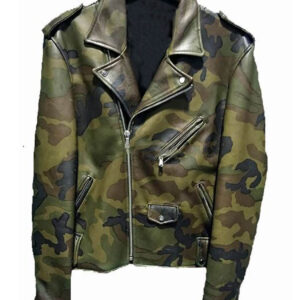 Classic Biker Military Camouflage Leather Jacket