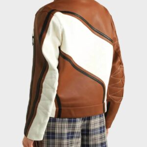Ezzah Brown Leather Biker Jacket
