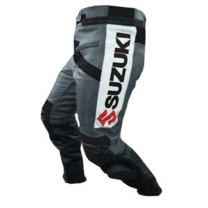 Grey Suzuki GSXR Motorcycle Leather Pant