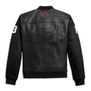 HD MC Harley Davidson Mixed Media Bomber Jacket
