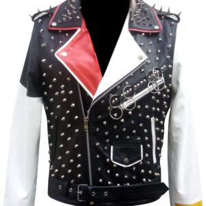 Multicolor Punk Rock Studded Biker Leather Jacket