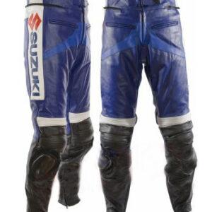 Navy Blue Suzuki Motorcycle Leather Pant