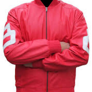 Pink 8 Ball Bomber Leather Jacket