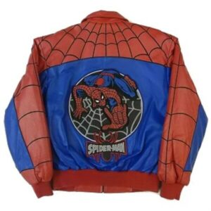 Red Spiderman Bomber Leather Jacket
