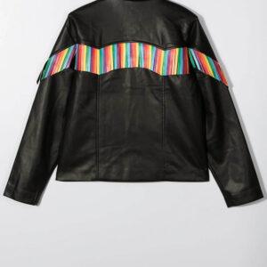 Stella McCartney Kids Rainbow Fringe Leather Jacket
