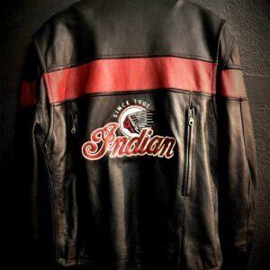 Vintage Indian Motorcycle Racing Black Leather Jacket