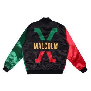 Black History Month Malcolm X Satin Bomber Jacket