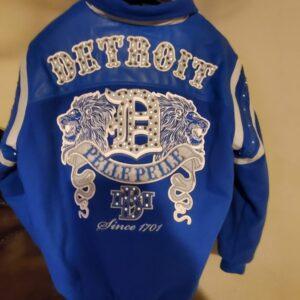 Blue Detroit Lions Pelle Pelle Leather Jacket