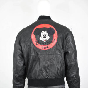 Disney Mickey Mouse Black Club Vintage Leather Jacket