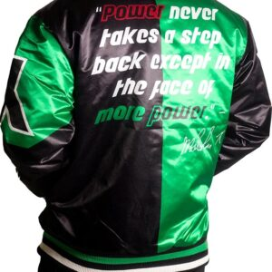 Malcolm X Black And Green Power Satin Jacket