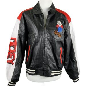 Mickey Minnie Mouse Leather Bomber Jacket