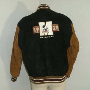 Mickey Mouse Embroidered Suede Leather Jacket